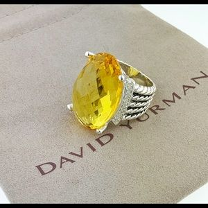 David Yurman Oval Lemon Citrine Diamond Ring